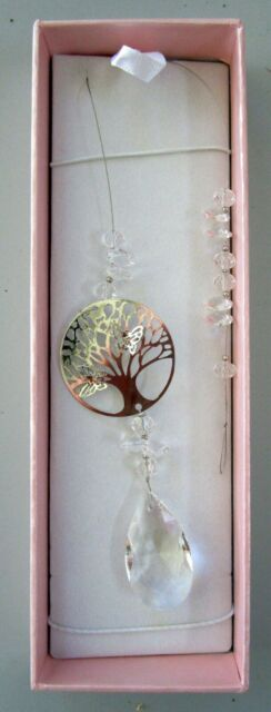 "SUNCATCHER ""TREE OF LIFE"" WITH CLEAR CRYSTALS & SILVER BUTTERFLY! GIFT BOXED"