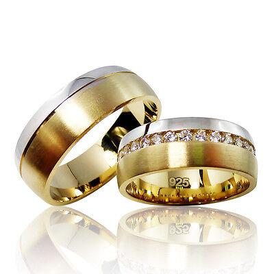 2 Trauringe 925 Silber GRAVUR + Etui Eheringe Verlobungsringe Partnerringe 3305