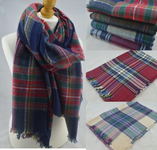 Winter Tartan Plaid Checked Scarf Pashmina Shawl Warm Wrap Fashion Stole Unisex