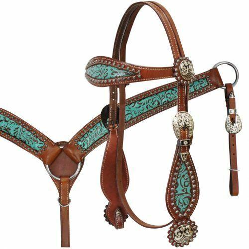 Showman TEAL Filigree Leather & Antique Conchos Bridle Breast Collar Reins SET
