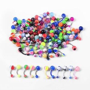 100PCS-Wholesale-Body-Jewelry-Lots-Belly-Navel-Ring-Piercing-Steel-Soft-Pole