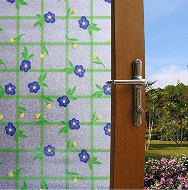Dépoli fleur bleu carreaux statique s'accrochent Film De Fenêtre, Large 36  X 6.5 Ft (environ 1.98 m)
