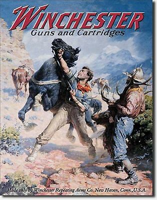 Winchester Guns & Cartridges Horse Metal Sign Tin New Vintage Style USA #936