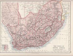 1921 MAP ~ UNION OF SOUTH AFRICA ~ CAPE OF GOOD HOPE ORANGE FREE ...