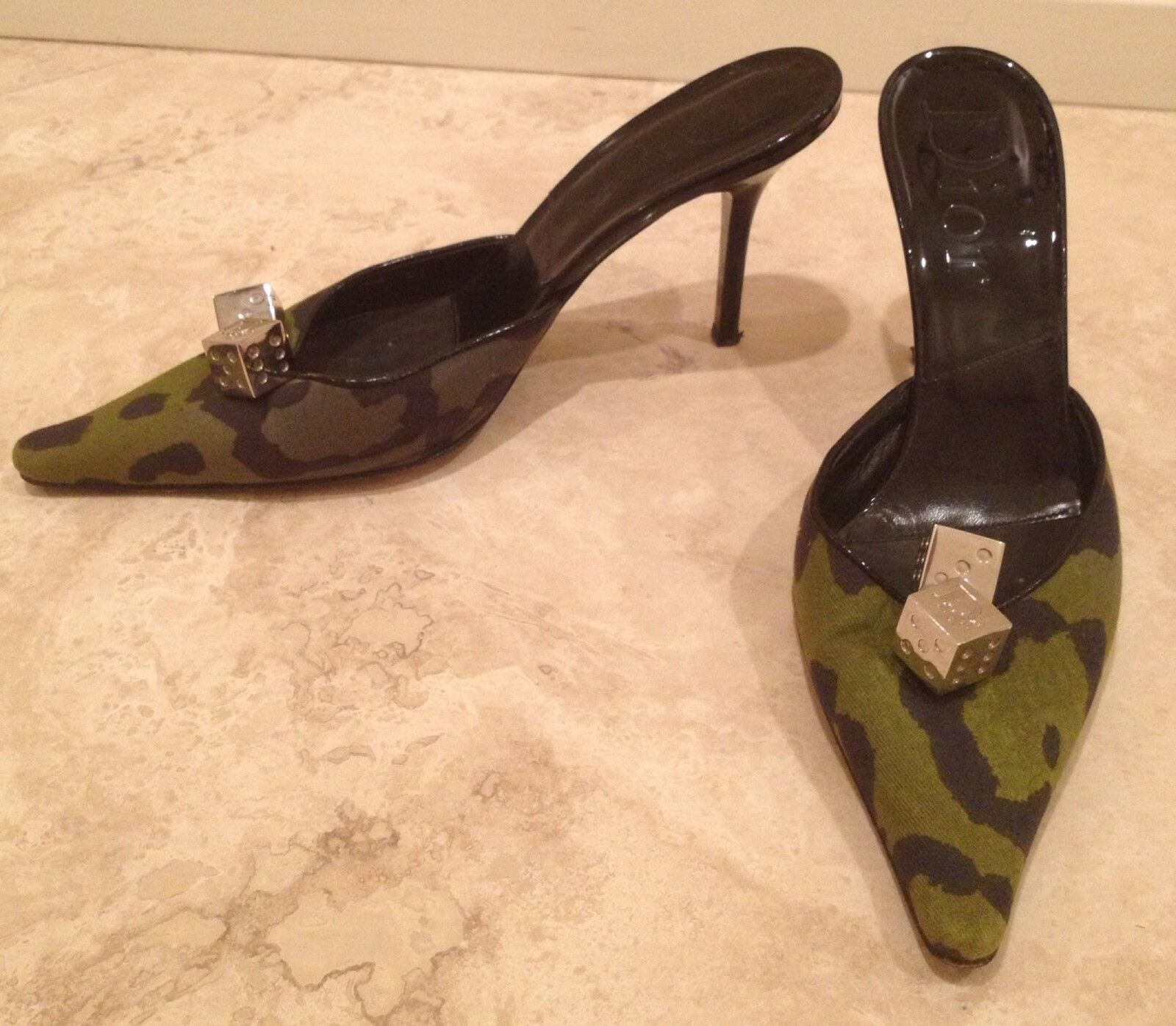 CHRISTIAN DIOR Camo Green Black Leather Slide Heels Poker Silver Dice 37.5 M