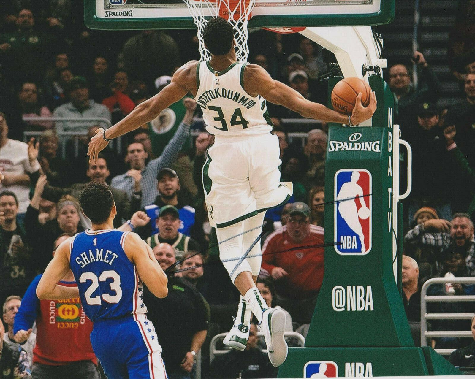 Giannis Antetokounmpo Milwaukee Bucks Firmado 8x10 Foto J Probado