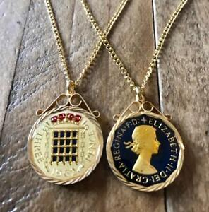 VINTAGE 1967 ENAMEL THREEPENCE COIN PENDANT /& NECKLACE GREAT BIRTHDAY PRESENT