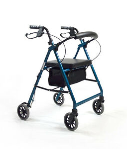 Foldable-Rollator-Walking-Frame-Indoor-Outdoor-Walker-Aids-Mobility-Blue