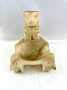 Vintage Onyx Marble Alabaster Stone Ashtray Dish Maya Aztec God Mexico