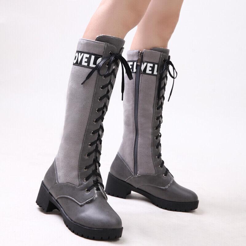 Femmes Genou bottes A Lacets Moyen Talon Bloc Punk Moto chaussures Taille 33-43