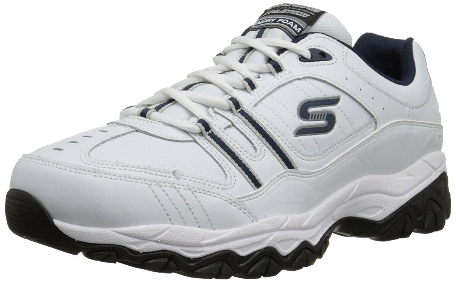 Skechers Sport Afterburn Memory Foam Athletic Shoes NIB Men Sz 10 White / Blue The latest discount shoes for men and women
