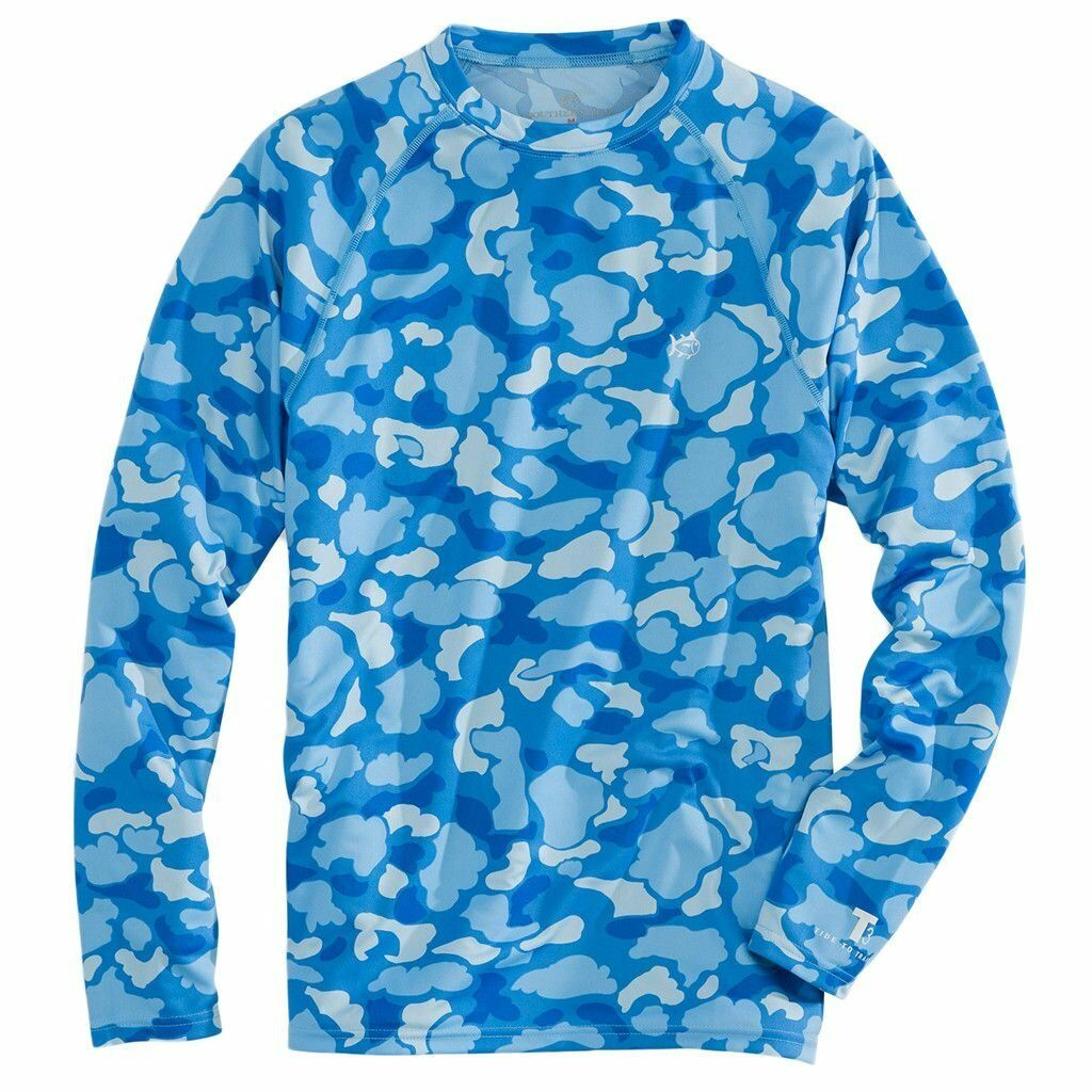 NWT Southern Tide Men's Camouflage Performance Long Sleeve bluee T-Shirt Medium