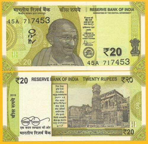India 20 Rupees p-new 2019 UNC Banknote