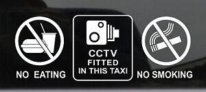 2-x-Warning-Sticker-CCTV-Camera-No-Smoking-Eating-Car-Vehicle-Taxi-Window-Sign