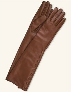 Victorian-Trading-New-S-Chestnut-Leather-Button-Elbow-Length-Sheep-Skin-Gloves