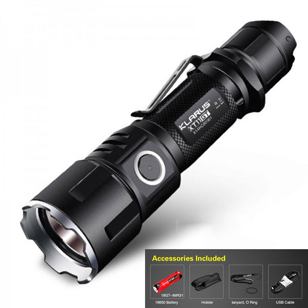 KLARUS XT11GT 2000LM Tactical CREE XHP35 HD E4  LED Programmable Flashlight