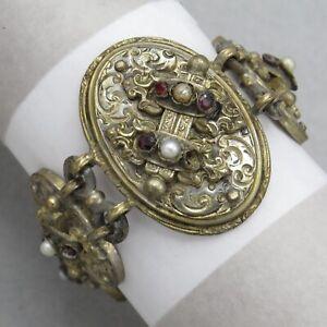 Vtg-Victorian-Revival-Garnet-Pearl-Wide-Silver-Tone-Bracelet