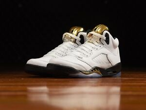 31886d67a58e07 Air Jordan 5 V Retro BG  Olympic Gold  White Black Metallic Gold ...