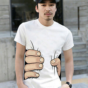 BL-Men-Summer-3D-Big-Hand-Print-Round-Neck-Short-Sleeve-White-T-shirt-Hot-Gift