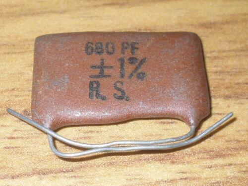 Radio//Electronics//Amplifier. 680 PFD 1/%.NOs RS Capacitor Silver Mica