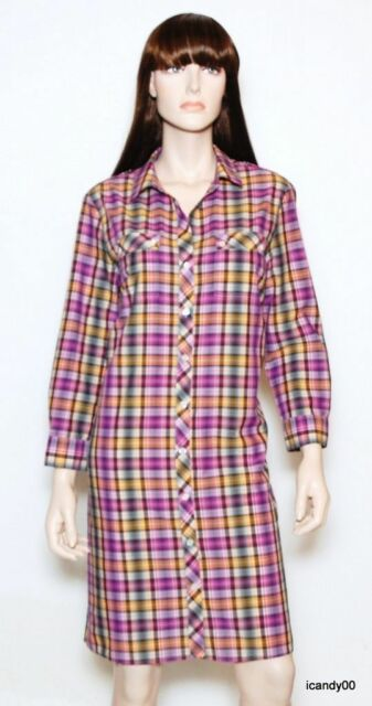 17644ba7d7 Nwt $295 Theory Dinorah Plaid Cotton Shirt Dress Blouse Tunic Top Sun/Multi  4