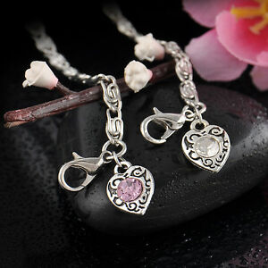 NEW-Women-Girl-Simple-Style-Crystal-Rhinestone-Love-Heart-Pearl-Pendant-Bracelet
