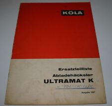 Ersatzteilliste Köla Abladehäcksler Ultramat K Ersatzteilkatalog Ausgabe 1967!