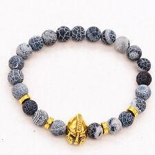 Men's Black Lava Stone Gold Spartan Helmet Bracelet Beaded Bracelet Cheapest