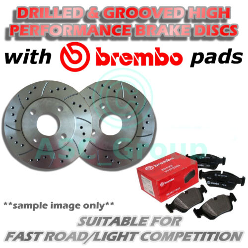 Front Drilled and Grooved 330mm 5 Stud Vented Brake Discs with Brembo Pads