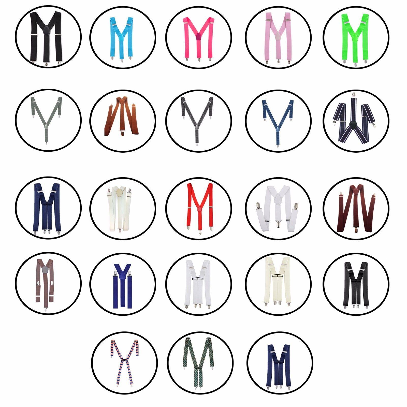 Mens Elasticated Heavy Duty Clip On Trouser Braces Adjustable Suspenders 35mm