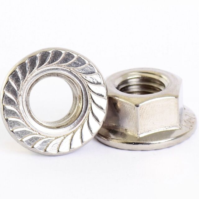 10 PACK M3 M4 M5 M6 M8 M10 M12 STAINLESS SERRATED FLANGE NUTS FLANGED NUTS