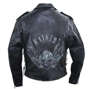 Hommes-Premium-Noir-use-Veste-en-cuir-avec-relief-VOLANT-Skull-protection