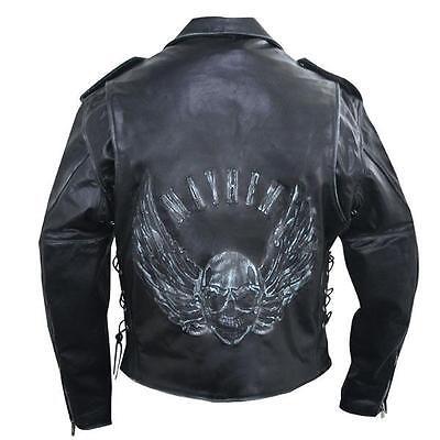 marron usé cuir moto protection Veste avec relief VOLANT Skull