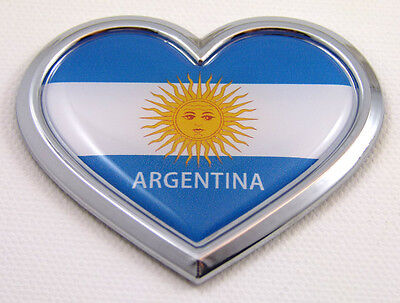 Argentina HEART Flag Chrome Emblem Car Decal Sticker 3D Badge Bumper