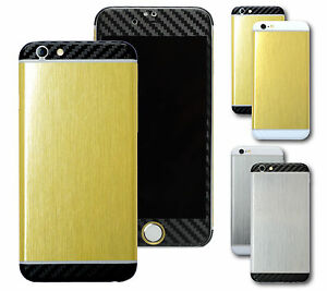 For-iPhone-6S-amp-6S-Plus-Brushed-GOLD-SILVER-and-CARBON-Skin-Wrap-Sticker-Decal