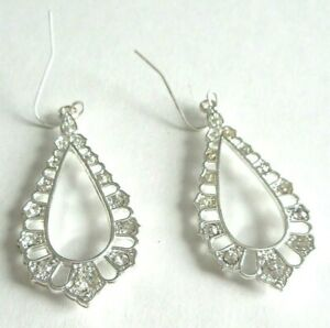 Vintage Post Dangle Earrings Silver Toned Teardrop With Red Rhinestone Used