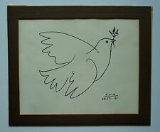 """Vintage Picasso """"Dove with Olive Branch"""" Serigraph"""