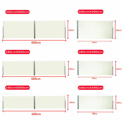 Seitenmarkise Sichtschutz Sonnenschutz Windschutz Alu Terasse Markise bis 600cm