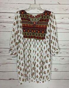 Umgee-Boutique-Women-039-s-S-Small-White-Boho-3-4-Sleeves-Cute-Fall-Tunic-Top-Blouse