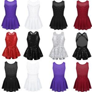 Girls-Ballet-Dance-Dress-Skating-Leotard-Gymnastics-Tutu-Skirt-Dancewear-Costume
