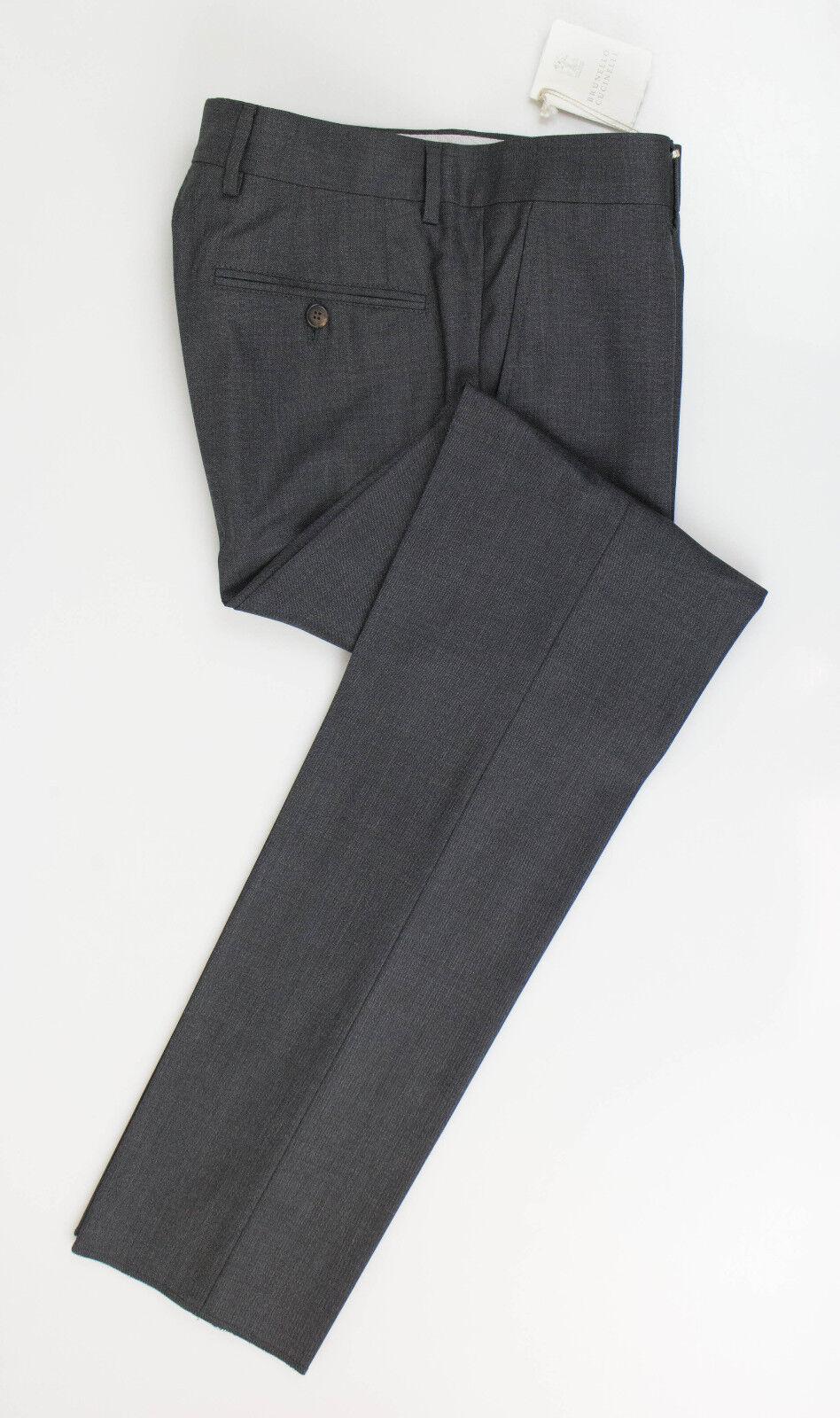 Nuovo. Brunello Cucinelli Grigio Lana Pantaloni Eleganti Taglia 58 42