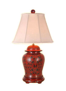 Image Is Loading Beautiful Chinese Red Lacquer Ginger Jar Table Lamp