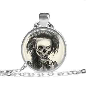 Living-Dead-Girl-Zombie-Necklace-Glass-cabochon-pendant-chain-Necklace-12