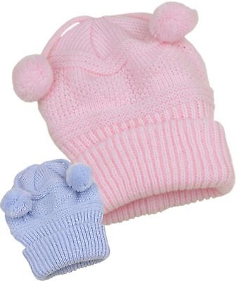 BabyPrem Baby Hats Winter Wooley Pom Pom Hat with Ear Flaps 0-6 months