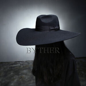 Details about ByTheR Unisex Modern Chic Classic Floppy Wide Brim 100% Wool Fedora  Witch Hat UK 516611a1a81