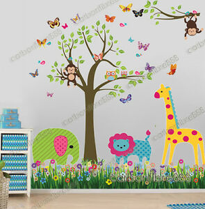 Image is loading Jungle-Animals-Monkey-Owl-Tree-Wall-Stickers-Kids-