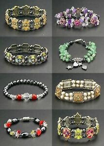 Bulk-Wholesale-Lot-24-Magnetic-Bracelets-Therapy-Hematite-Stone-Beads-Crystals