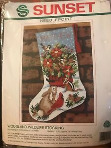 Sunset-Needlepoint-Woodland-Wildlife-16-034-Christmas-Stocking-Kit-1993-NIP-19015