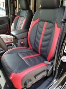 Jeep Wrangler Seat Covers >> Details About 2018 2019 Jeep Wrangler Jl Red Black Leather Seat Covers Sahara Sport