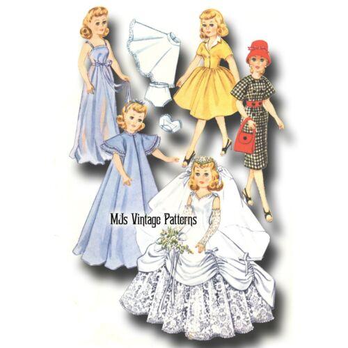 "Petticoat Vtg 1950s Pattern 12/"" 12.5/"" Manikin Fashiondol ~ Wedding Dress Suit"